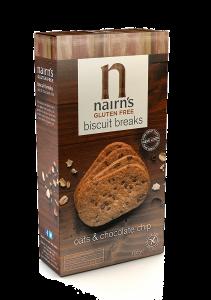 Biscuiti fara gluten din ovaz integral cu bucati de ciocolata Nairn's 160g