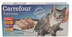 Hrana umeda pentru pisici cu pasare, vita și vanat Carrefour 4x100g