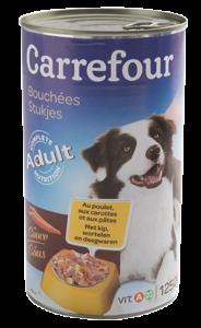 Hrana umeda pentru caini cu pui si morcovi Carrefour 1230g