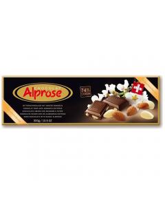 Ciocolata amaruie cu migdale 74%cacao Alprose 300g