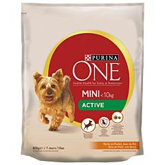 Hrana uscata cu pui si orez pentru caini adulti de talie mica Purina One MiniI Activ 800g