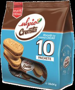 Biscuiti cu crema de cacao Ulpio 10x34g
