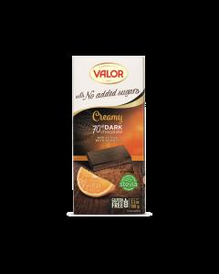 Ciocolata neagra fara zahar cu 70% cacao si crema de portocale Valor 100g