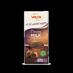Ciocolata fara zahar cu lapte si crema de alune de padure Valor 100g