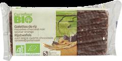 Rondele de orez cu glazura de ciocolata neagra si aroma de portocale Carrefour Bio 90g