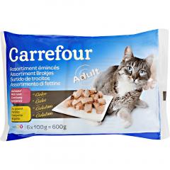 Hrana pentru pisici adulte pui si vita Carrefour 6x100g