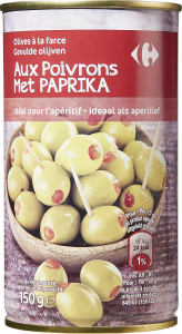 Masline verzi umplute cu preparat cu ardei gras rosu Carrefour 150g