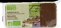 Rondele de orez glazurate cu ciocolata cu lapte Carrefour Bio 90g