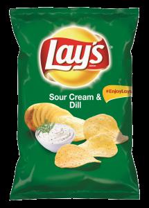 Chipsuri din cartofi cu gust de smantana si marar Lay`s 70g