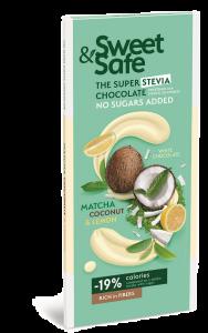 Ciocolata alba cu matcha, cocos si lamaie Sweet&Safe 350g
