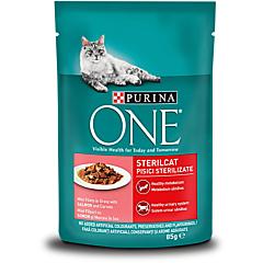 Hrana umeda pentru pisici cu somon Purina One Sterilcat 85g