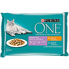 Pachet hrana umeda pentru pisici cu pui/ton Purina One Sensitive 4x85g