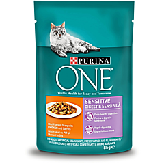 Hrana umeda pentru pisici cu pui si morcov, Purina One Sensitive 85g