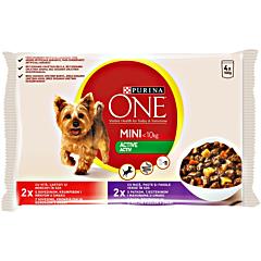Hrana umeda pentru caini cu vita si cartofi, Purina One 4x100g