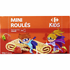 Mini rulouri cu capsuni Carrefour Kids 150g