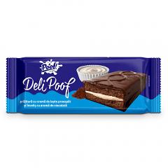 Prajitura cu crema de lapte si ciocolata Deli Poof 390g