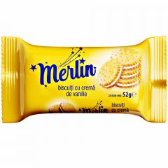 Biscuiti cu crema de vanilie Merlin 52g