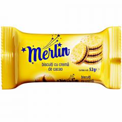 Biscuiti cu crema cacao Merlin 52g