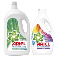 Detergent automat lichid Ariel Mountain Spring, 60 spalari, 3,3 L + Detergent automat lichid Ariel Color, 40 spalari, 2,2 L