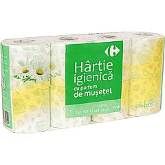 Hartie igienica cu parfum de musetel Carrefour 3straturi 8role