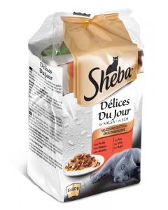 Hrana umeda completa pentru pisici adulte selectii suculente mixte cu pui, cu vita si rata, Sheba 6x50g
