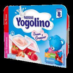 Gustare cu lapte cu capsuna si zmeura Nestlé® Yogolino Creamy Duo 6x60g