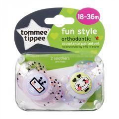 Suzete Ortodontice Fun, Tommee Tippee, 18-36 luni, 2 buc, fete, roboti