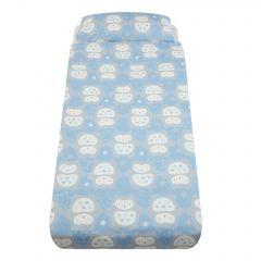 Lenjerie de pat, Gro, Bufnita Ollie, Albastru, pentru patut cu saltea de 90 x 190 cm