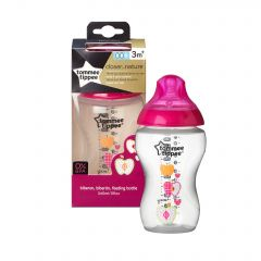 Biberon decorat 340ml, Tommee Tippee, 1 buc, Mar roz