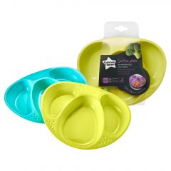 Set Farfurii Compartimentate Explora, Tommee Tippee, 2 buc, Turquoise / Galben