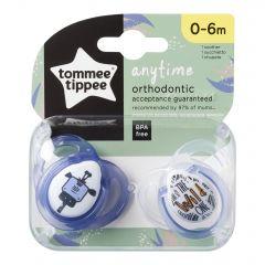 Suzete Ortodontice Anytime, Tommee Tippee, Girafa Albastra, 0-6 Luni, 2 buc
