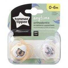 Suzete Ortodontice Anytime, Tommee Tippee, Tigrut Portocaliu, 0-6 Luni, 2 buc