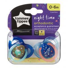 Set Suzete Ortodontice de Noapte, Tommee Tippee, 0 - 6 Luni, 2 buc, Racheta Albastra