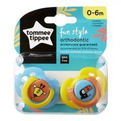 Set Suzete Ortodontice de Zi FUN, Tommee Tippee, 0-6 Luni, 2 buc, Girafa / Pasare