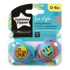 Suzete Ortodontice de Zi FUN, Tommee Tippee, Tigru / Girafa, 0-6 Luni, 2 buc