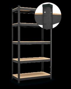 Raft metalic depozitare cu 5 polite MDF, 180 X 90 X 40 cm, 175 KG/polita; culoare negru