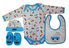 Set cadou bebe 4 piese, PP14514ML, albastru, Primii Pasi, 0-6 luni