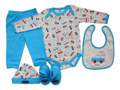 Set cadou bebe 5 piese, PP14515ML, albastru, Primii Pasi, 52 - 62 cm