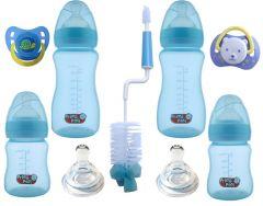 Set nou nascut biberoane gat larg SNNBGL bleu melc Primii Pasi 0 - 6 luni