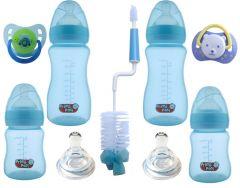 Set nou nascut biberoane gat larg SNNBGL bleu testoasa Primii Pasi 0 - 6 luni