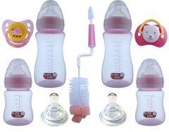 Set nou nascut biberoane gat larg SNNBGL roz buburuza Primii Pasi 0 - 6 luni