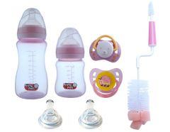 Set starter nou nascut biberoane gat larg SSNNBGL roz buburuza Primii Pasi