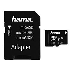 Card microSDXC Hama, 128GB, Class 10, UHS-I 80MB/s + Adaptor
