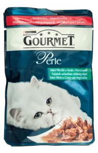 Hrana umeda pentru pisici cu vita si morcov Gourmet Perle 85g