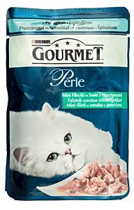 Hrana umeda pentru pisici cu pastrav si spanac Gourmet Perle 85g