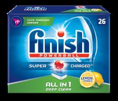 Detergent tablete pentru masina de spalat vase Finish All in One Lemon, 26 buc