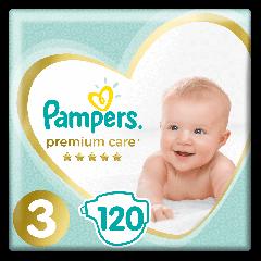 Scutece Pampers Premium Care Marimea 3, 6-10 kg,  120 buc