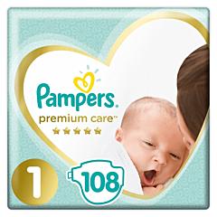 Scutece Pampers Premium Care Jumbo Pack Marimea 1, Nou Nascut, 2-5kg, 108buc