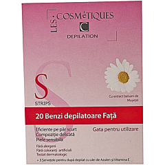 Benzi depilatoare fata, Les Cosmetiques, 20 bucati