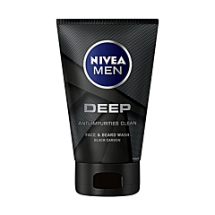 Gel de curatare fata si barba Nivea Men Deep, 100 ml